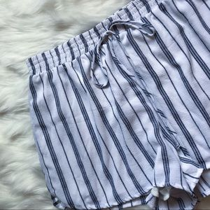 Honey Punch Blue and White Striped Shorts